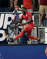 KANSAS CITY, KS - JUNE 26: Jozy Altidore #17 celebrates his goal during a game between United States and Panama at Children's Mercy Park on June 26, 2019 in Kansas City, Kansas.