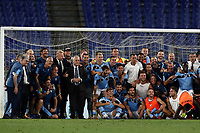 Football, Serie A: S.S. Lazio - Cagliari, Olympic stadium, Rome, July 23, 2020. <br /> Lazio president Claudio Lotito, and his team members pose for a group picture after winning 2-1 the Italian Serie A football match between Lazio and Cagliari at Rome's Olympic stadium, Rome, on July 23, 2020. <br /> UPDATE IMAGES PRESS/Isabella Bonotto
