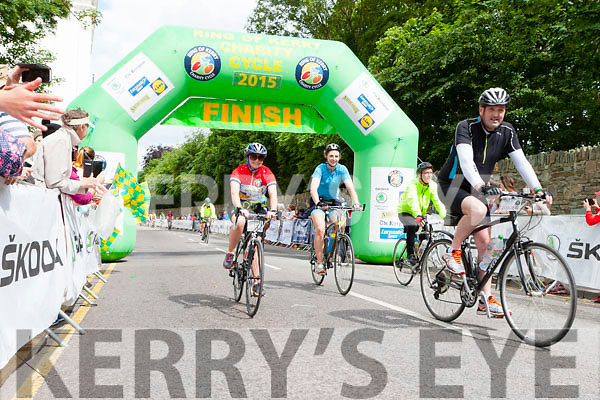 Currow girls Siobhain Fleming and Daly cross the finish lane of the Ring of Kerry cycle in Killarney on Saturday