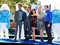 Actors Danny Pudi, Jack McBrayer, Ariel Winter, Meghan Trainor &amp; Jeff Dunham at the world premiere for &quot;Smurfs: The Lost Village&quot; at the Arclight Theatre, Culver City, USA 01 April  2017<br /> Picture: Paul Smith/Featureflash/SilverHub 0208 004 5359 sales@silverhubmedia.com