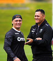 Danny Levi and Kiwis coach David Kidwell (right) during the New Zealand Kiwis Rugby League World Cup training session at Porirua Park in Wellington, New Zealand on Tuesday, 14 November 2017. Photo: Dave Lintott / lintottphoto.co.nz