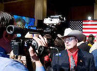 Michael Ordonez (cq) is interviewed before a Watch Party for John McCain, U.S. senator from Arizona and 2008 Republican presidential candidate, in Dallas, Texas, U.S., on Tuesday, March 4, 2008. McCain won the nomination for the Republican party on Tuesday. Photographer: Matt Nager/Bloomberg News