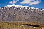 Towering Snowy Peak of Snaefellsjokull Glacier on Snaefellsnes Peninsula in West Iceland