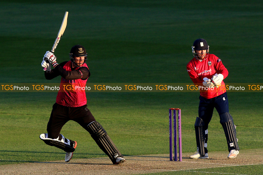 Stiaan van Zyl in batting action for Sussex as Adam Wheater looks on from behind the stumps during Essex Eagles vs Sussex Sharks, Royal London One-Day Cup Cricket at The Cloudfm County Ground on 10th May 2017
