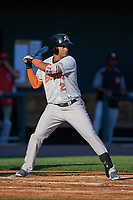 Bowie Baysox center fielder Garabez Rosa (2) at bat during a game against the Harrisburg Senators on May 16, 2017 at FNB Field in Harrisburg, Pennsylvania.  Bowie defeated Harrisburg 6-4.  (Mike Janes/Four Seam Images)