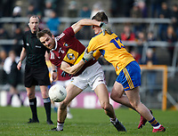 26th January 2020; TEG Cusack Park, Mullingar, Westmeath, Ireland; Allianz Football Division 2 Gaelic Football, Westmeath versus Clare; Kevin Maguire (Westmeath) and Gavin Cooney (Clare) grapple for the ball