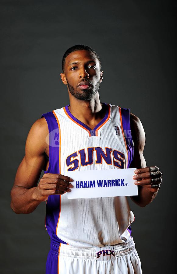 Dec. 16, 2011; Phoenix, AZ, USA; Phoenix Suns forward Hakim Warrick poses for a portrait during media day at the US Airways Center. Mandatory Credit: Mark J. Rebilas-