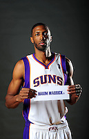 Dec. 16, 2011; Phoenix, AZ, USA; Phoenix Suns forward Hakim Warrick poses for a portrait during media day at the US Airways Center. Mandatory Credit: Mark J. Rebilas-