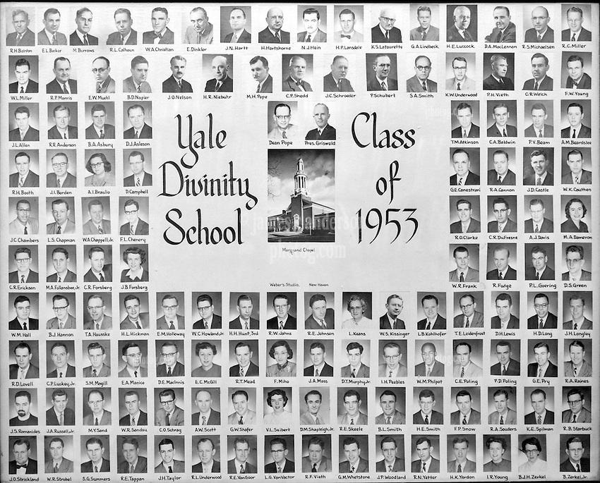 1953 Yale Divinity School Senior Portrait Class Group Photograph