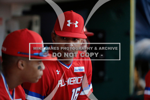 Luke Bartnicki (16) of Walton High School in Marietta, Georgia during the Under Armour All-American Game presented by Baseball Factory on July 29, 2017 at Wrigley Field in Chicago, Illinois.  (Mike Janes/Four Seam Images)