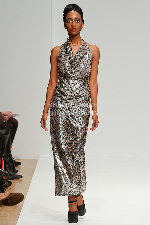 Model walks runway in an outfit from the Elsa Dunn Originals Fall 2014 collection, for Fashion's Review Fall 2014, during New York Fashion Week Fall 2014, February 9, 2014.