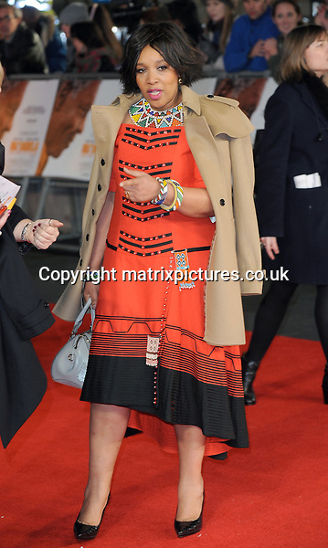 NON EXCLUSIVE PICTURE: PAUL TREADWAY / MATRIXPICTURES.CO.UK<br /> PLEASE CREDIT ALL USES<br /> <br /> WORLD RIGHTS<br /> <br /> Zenani Mandela, the grand daughter of late former South African President Nelson Mandela, attends the Royal film performance of &quot;Mandela: Long Walk to Freedom&quot; at the Odeon Theatre at Leicester Square in London, England.<br /> <br /> DECEMBER 5th 2013<br /> <br /> REF: PTY 137771