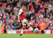 1st October 2017, Emirates Stadium, London, England; EPL Premier League Football, Arsenal versus Brighton; Alexis Sanchez of Arsenal prepares for kick off