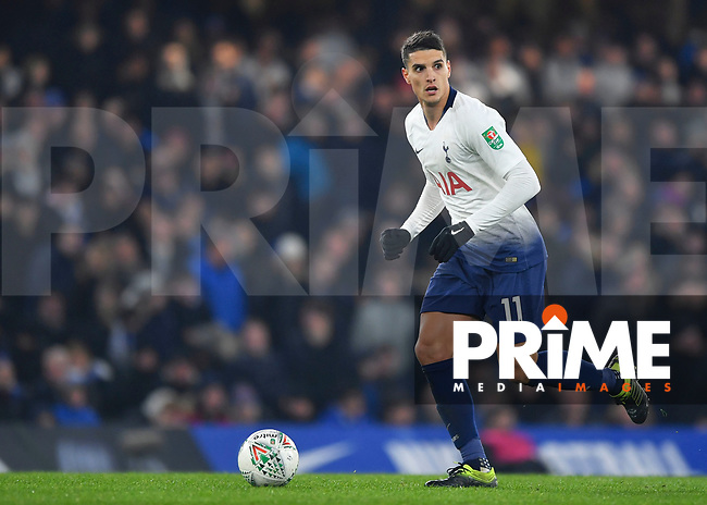 Erik Lamela of Tottenham Hotspur during the Carabao Cup Semi-Final 2nd leg match between Chelsea and Tottenham Hotspur at Stamford Bridge, London, England on 24 January 2019. Photo by Vince  Mignott / PRiME Media Images.