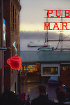 Seattle, Pike Place Farmers Market, WA. St. ferry, Elliott Bay, neon signs, historical district, historic image - signage has changed,