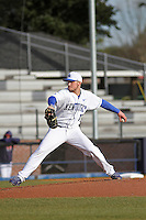 University of Kentucky Wildcats pitcher Ryne Combs #10 pitching during a game against the University of Virginia Cavaliers at Brooks Field on the campus of the University of North Carolina at Wilmington on February 14, 2014 in Wilmington, North Carolina. Kentucky defeated Virginia by the score of 8-3. (Robert Gurganus/Four Seam Images)