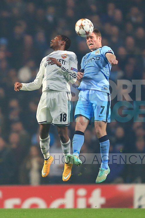 Ahmed Musa of CSKA and James Milner of Manchester City - Manchester City vs. CSKA Moscow - UEFA Champions League - Etihad Stadium - Manchester - 05/11/2014 Pic Philip Oldham/Sportimage