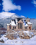St Catherine of Sienna Chapel at St Malo in winter along the Peak to Peak Scenic Byway in the Rocky Mountains of Colorado