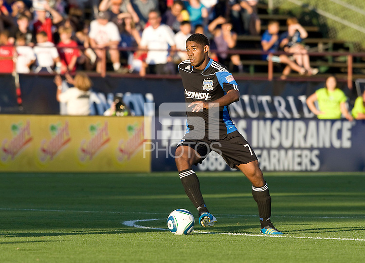 Khari Stephenson of Earthquakes in action during the game against the WhiteCaps at Buck Shaw Stadium in Santa Clara, California on July 20th, 2011.  Earthquakes and WhiteCaps are tied 1-1 at halftime.