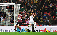 9th November 2019; Wembley Stadium, London, England; International Womens Football Friendly, England women versus Germany women; Goalkeeper Merle Frohms of Germany slides out and fouls Beth Mead of England to concede a penalty, which England missed - Editorial Use