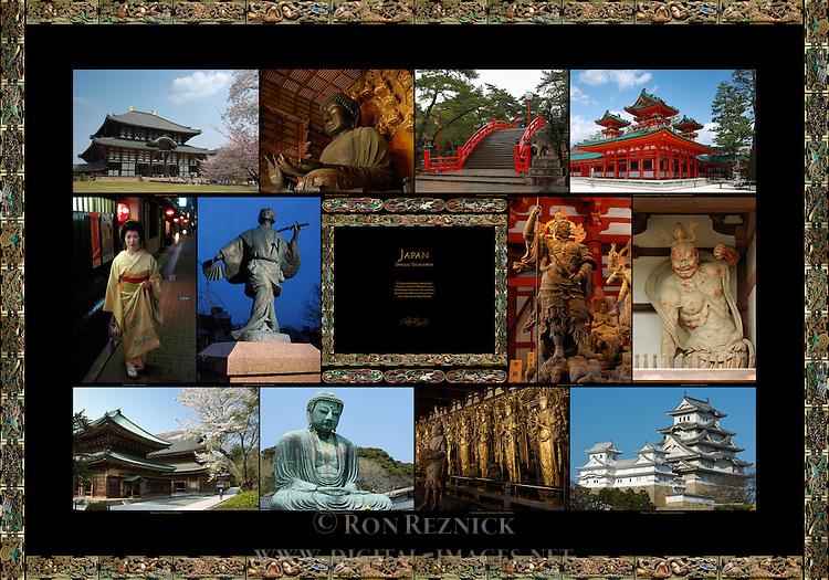 Japan Special Selections: Todaiji Daibutsuden and Nara Daibutsu, Sumiyoshi Taisha Taiko Bashi Bridge, Heian Jingu Shrine Soryu-ro Blue Dragon Tower; Geisha Gion Kyoto, Izumo no Okuni Gion Kyoto, Zochoten Toji Kodo, Agyoh Horyuji Chumon; Kenchoji Butsuden and Hatto, Kotoku-in Kamakura Daibutsu, Sanjusangendo Kinnara and Senju-Kannons, Himeji Castle Tenshu, Inui and Nishi Shotenshu Composite Image