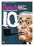 Punch Front Cover, 5th October 1977 - Party Conference Number - Future Shock: Benn v. Thatcher? (a cartoon showing Labour cabinet minister Tony Benn puffing on a pipe with smoke rings in the shape of number 10, alluding to 10 Downing Street)