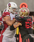 Arizona Cardinals tackle Jared Veldheer (68) and San Francisco 49ers outside linebacker Aaron Lynch get into it after play on Thursday, October 06, 2016 at Levis Stadium in Santa Clara, California. The Cardinals defeated the 49ers 33-21.