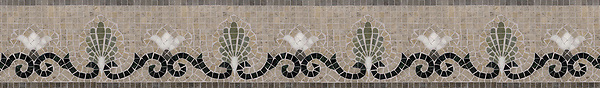 """6"""" Goddess border, a hand-cut mosaic shown in honed Montevideo, Jura Grey, polished Nero Marquina, Verde Luna, and Calacatta Tia by New Ravenna."""