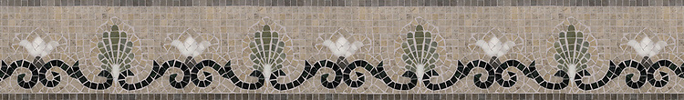 "6"" Goddess border, a hand-cut stone mosaic, shown in honed  Montevideo, Jura Grey, polished Nero Marquina, Verde Luna, Calacatta Tia."