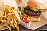 USA, Hawaii, The Big Island, burger and french fries in Waimea