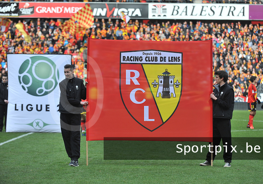 20140201 - LENS , FRANCE : RC Lens Banner pictured during the soccer match between Racing Club de LENS and Stade Lavallois , on the twenty second matchday in the French Ligue 2 at the Stade Bollaert Delelis stadium , Lens . Saturday 1st February 2014. PHOTO DAVID CATRY