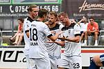 01.08.2020, C-Team Arena, Ravensburg, GER, WFV-Pokal, FV Ravensburg vs SSV Ulm 1846 Fussball, <br /> DFL REGULATIONS PROHIBIT ANY USE OF PHOTOGRAPHS AS IMAGE SEQUENCES AND/OR QUASI-VIDEO, <br /> im Bild Torjubel, Vinko Sapina (Ulm, #22), Lennart Stoll (Ulm, #18) und Johannes Reichert (Ulm, #5) freuen sich mit dem Torschützen Steffen Kienle (Ulm, #23)<br /> <br /> Foto © nordphoto / Hafner