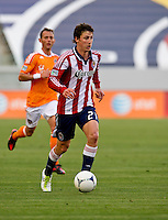 CARSON, CA - March 11, 2012: Chivas USA midfielder Ben Zemanski (21) during the Chivas USA vs Houston Dynamo match at the Home Depot Center in Carson, California. Final score Houston Dynamo 1, Chivas USA 0.