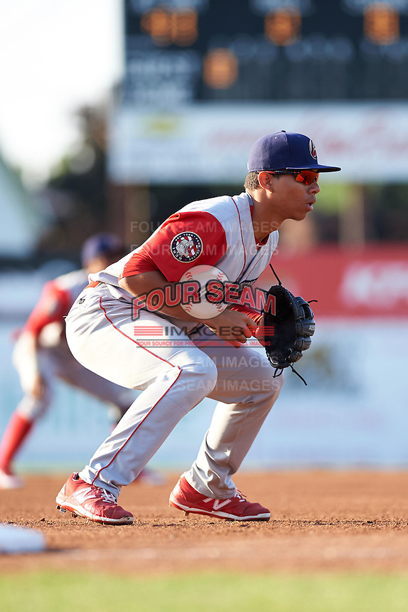 Williamsport Crosscutters third baseman Jan Hernandez (12) during a game against the Batavia Muckdogs on July 15, 2015 at Dwyer Stadium in Batavia, New York.  Williamsport defeated Batavia 6-5.  (Mike Janes/Four Seam Images)