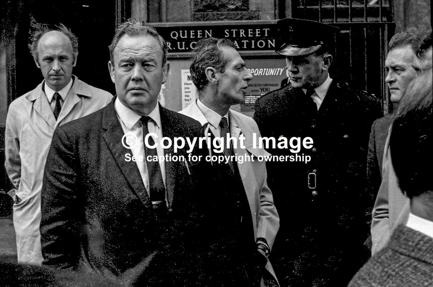 Belfast,policeman,Detective Chief Inspector, Robert Agar, RUC, N Ireland, LH 95/74, 197400000095. Agar is in dark jacket and slightly to the left of the photo.<br /> <br /> Copyright Image from Victor Patterson, 54 Dorchester Park, <br /> Belfast, UK, BT9 6RJ<br /> <br /> t1: +44 28 9066 1296 (from Rep of Ireland 048 9066 1296)<br /> t2: +44 28 9002 2446 (from Rep of Ireland 048 9002 2446)<br /> m: +44 7802 353836<br /> <br /> e1: victorpatterson@me.com<br /> e2: victorpatterson@gmail.com<br /> www.victorpatterson.com<br /> <br /> Please see my Terms and Conditions of Use at www.victorpatterson.com. It is IMPORTANT that you familiarise yourself with them.<br /> <br /> Images used on the Internet must be visibly watermarked i.e. &copy; Victor Patterson<br /> within the body of the image and copyright metadata must not be deleted. Images <br /> used on the Internet have a size restriction of 4kbs and will be chargeable at current<br />  NUJ rates unless agreed otherwise.<br /> <br /> This image is only available for the use of the download recipient i.e. television station, newspaper, magazine, book publisher, etc, and must not be passed on to any third <br /> party. It is also downloaded on condition that each and every usage is notified within 7 days to victorpatterson@me.com<br /> <br /> The right of Victor Patterson to be identified as the author is asserted in accordance with The Copyright Designs And Patents Act (1988).