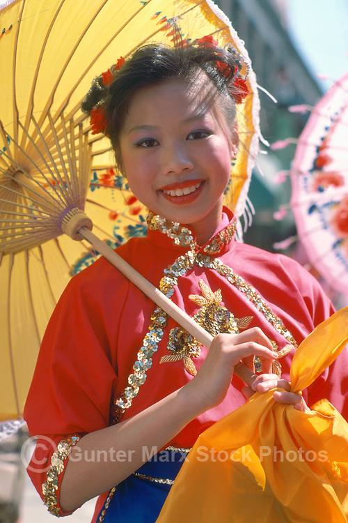 Female Performer at Chinese New Year's Parade in Chinatown, Vancouver, BC, British Columbia, Canada (No Model Release Available)