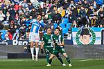 Oscar Rodriguez of CD Leganes and Marc Roca of RCD Espanyol during La Liga match between CD Leganes and RCD Espanyol at Butarque Stadium in Leganes, Spain. December 22, 2019. (ALTERPHOTOS/A. Perez Meca)
