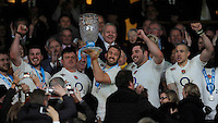 Chris Robshaw of England holds up the Cook Cup after the QBE International match between England and Australia at Twickenham Stadium on Saturday 29th November 2014 (Photo by Rob Munro)