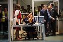 London, UK. 24.09.2015. English National Opera presents LADY MACBETH OF MTSENSK, at the London Coliseum. Directed by Dmitri Tcherniakov. Picture shows: Patricia Racette (Katerina Lvovna Ismailova), Peter Hoare (Zinovy Borisovich Ismailov). Photograph © Jane Hobson.