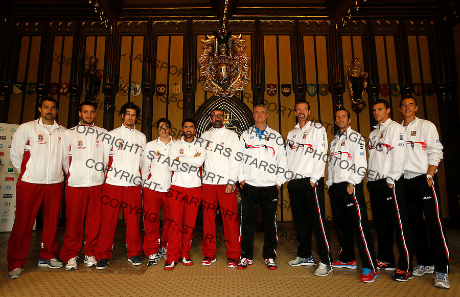 Davis Cup.Czech Republic Vs. Serbia.Official Draw.Serbia team from left, Nenad Zimonjic, Viktor Troicki, Ilija Bozoljac, Dusan Lajovic, Janko Tipsarevic and team captain Bogdan Obradovic, Czech team from left, from left, team captain Jaroslav Navratil, Tomas Berdych, Radek Stepanek, Frantisek Cermak and Lukas Rosol.Prague, 05.04.2012..foto: Srdjan Stevanovic/Starsportphoto ©