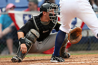 May 3, 2009:  Catcher Brian Jeroloman of the New Hampshire Fisher Cats, Eastern League Class-AA affiliate of the Toronto Blue Jays, during a game at the NYSEG Stadium in Binghamton, NY.  Photo by:  Mike Janes/Four Seam Images