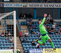 Gillingham almost score from a free kick as the ball hits the cross bar<br /> <br /> Photographer David Horton/CameraSport<br /> <br /> The EFL Sky Bet League One - Gillingham v Bolton Wanderers - Saturday 31st August 2019 - Priestfield Stadium - Gillingham<br /> <br /> World Copyright © 2019 CameraSport. All rights reserved. 43 Linden Ave. Countesthorpe. Leicester. England. LE8 5PG - Tel: +44 (0) 116 277 4147 - admin@camerasport.com - www.camerasport.com