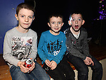 Robert Mulligan, James Taaffe and Cillian McCullough pictured at the Collon children's Christmas Disco. Photo:Colin Bell/pressphotos.ie