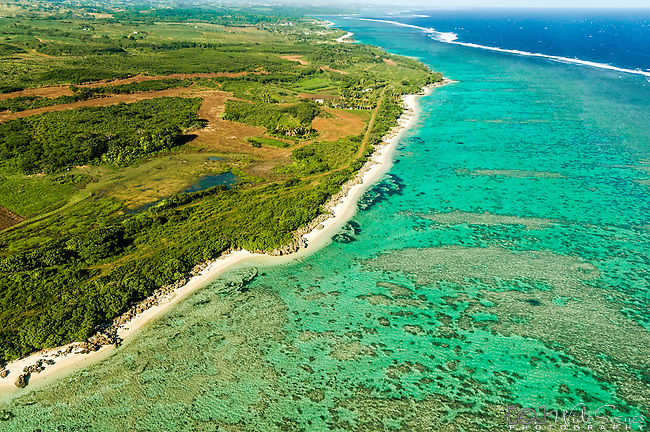 Aerial along the west coast Viti Levu near Natadola, Fiji Islands