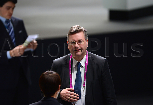 26.02.2016. Zurich, Switzerland. Reinhard Grindel, treasurer of the German Football Association DFB, casts his vote into a ballot during the Extraordinary FIFA Congress 2016 held at the Hallenstadion in Zurich, Switzerland, 26 February 2016. The Extraordinary FIFA Congress is being held in order to vote on the proposals for amendments to the FIFA Statutes and choose the new FIFA President.
