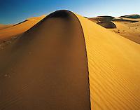 Perfect crescent sand-dune in the Abu Dhabi desert, United Arab Emirate
