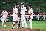 (L to R) .Ginjiro Sumitani (JPN), .Tetsuya Yamaguchi (JPN), .Yuichi Honda (JPN), .MARCH 3, 2013 - WBC : .2013 World Baseball Classic .1st Round Pool A .between Japan 5-2 China .at Yafuoku Dome, Fukuoka, Japan. .(Photo by YUTAKA/AFLO SPORT)