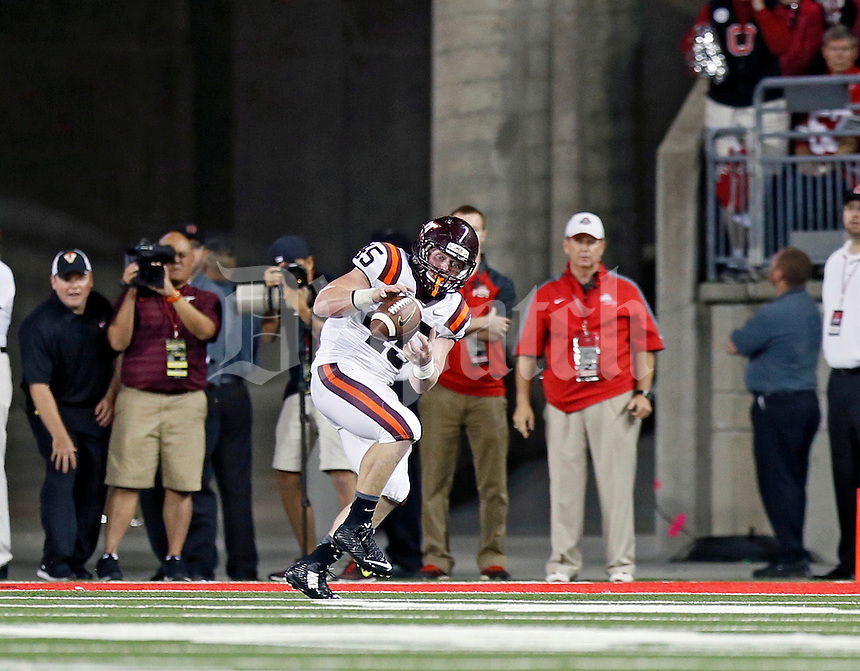 Virginia Tech Hokies fullback Sam Rogers (45) makes a touchdown catch against Ohio State Buckeyes during the 2nd quarter of their game in Ohio Stadium on September 6, 2014.  (Dispatch photo by Kyle Robertson)