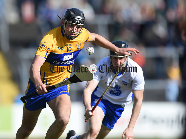 Cathal Malone of Clare  in action against Conor Gleeson of Waterford during their National League game at Cusack Park. Photograph by John Kelly.