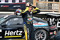 #3 JDX Racing, Porsche 991 / 2018, GT3P: Trenton Estep celebrates in Victory Lane